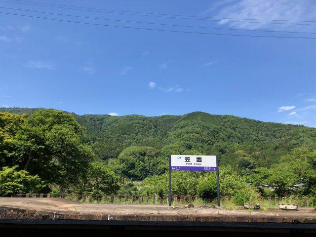 1時間に1本の電車で向かう笠置町。笠置時間があるという。のんびり電車を待つ、ゆとりの時間でしょうか。