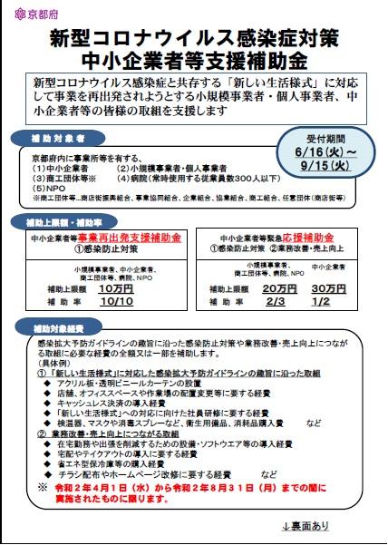 京都 府 事業 再 出発 支援 補助 金